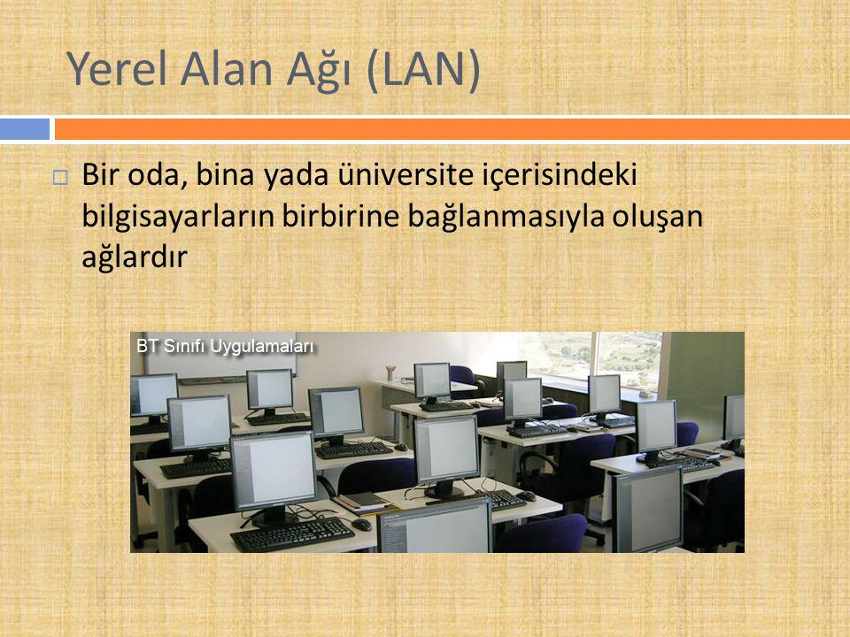 Yerel Alan Ağı (LAN)  Bir oda, bina yada üniversite içerisindeki bilgisayarların birbirine bağlanmasıyla oluşan ağlardır