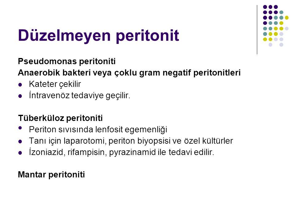 Düzelmeyen peritonit Pseudomonas peritoniti Anaerobik bakteri veya çoklu gram negatif peritonitleri Kateter çekilir İntravenöz tedaviye geçilir. Tüber