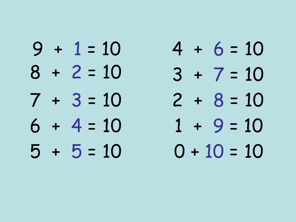 9 + 1 = 10 8 + 2 = 10 7 + 3 = 10 6 + 4 = 10 5 + 5 = 10 4 + 6 = 10 3 + 7 = 10 2 + 8 = 10 1 + 9 = 10 0 + 10 = 10