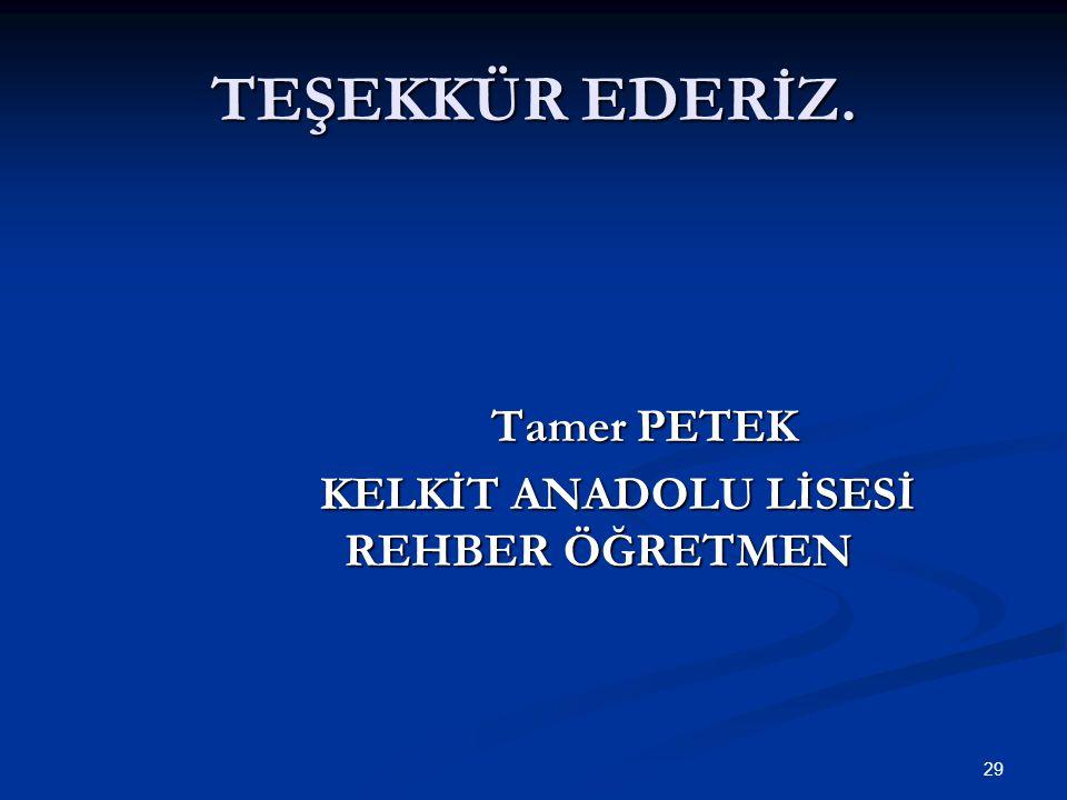 TEŞEKKÜR EDERİZ. Tamer PETEK KELKİT ANADOLU LİSESİ REHBER ÖĞRETMEN 29