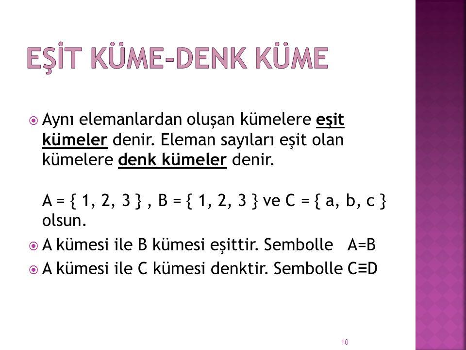  Aynı elemanlardan oluşan kümelere eşit kümeler denir. Eleman sayıları eşit olan kümelere denk kümeler denir. A = { 1, 2, 3 }, B = { 1, 2, 3 } ve C =