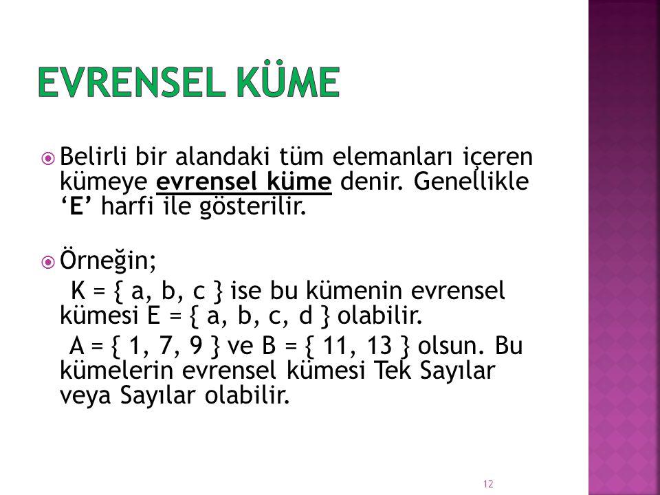  Belirli bir alandaki tüm elemanları içeren kümeye evrensel küme denir. Genellikle 'E' harfi ile gösterilir.  Örneğin; K = { a, b, c } ise bu kümeni