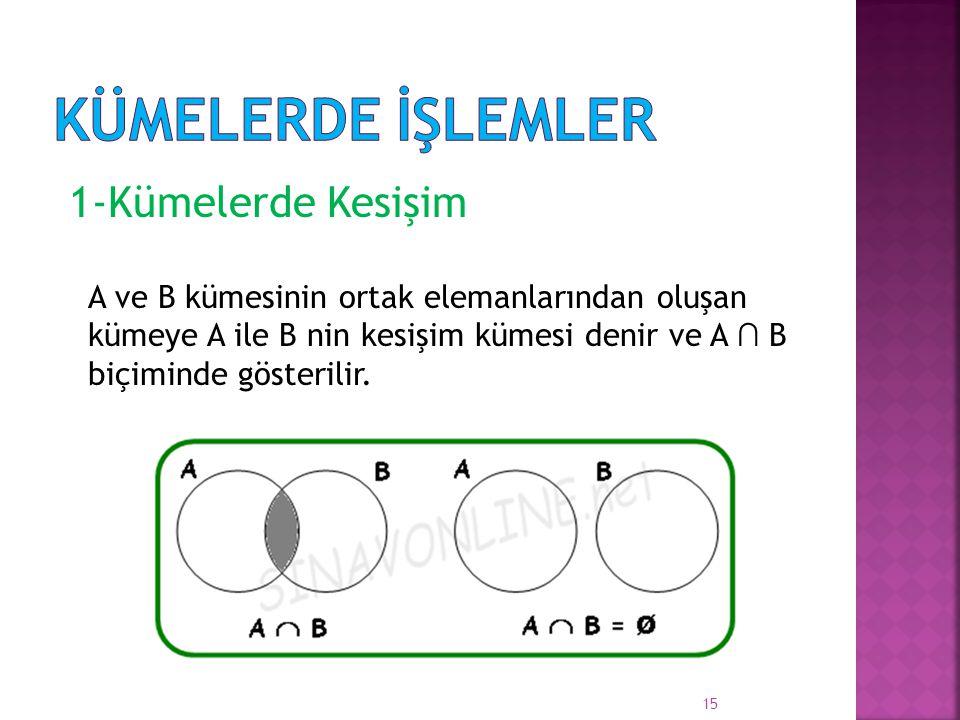 1-Kümelerde Kesişim A ve B kümesinin ortak elemanlarından oluşan kümeye A ile B nin kesişim kümesi denir ve A ∩ B biçiminde gösterilir. 15