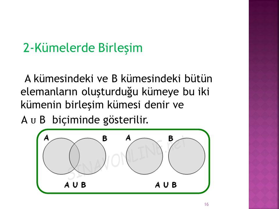 2-Kümelerde Birleşim A kümesindeki ve B kümesindeki bütün elemanların oluşturduğu kümeye bu iki kümenin birleşim kümesi denir ve A B biçiminde gösteri