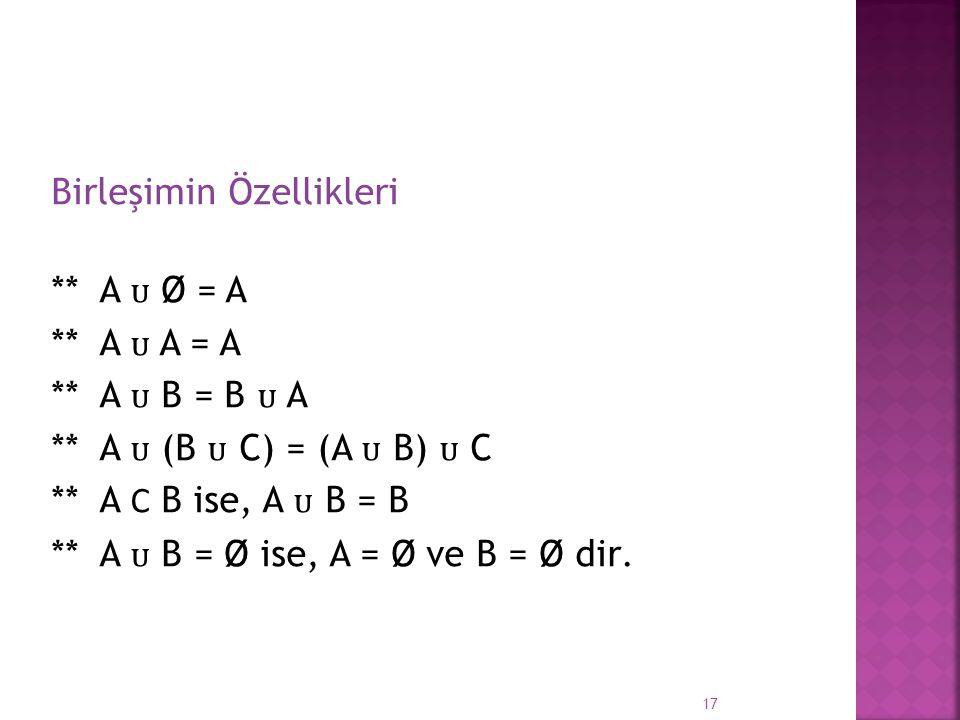 Birleşimin Özellikleri ** A Ø = A ** A A = A ** A B = B A ** A (B C) = (A B) C ** A Ϲ B ise, A B = B ** A B = Ø ise, A = Ø ve B = Ø dir. 17
