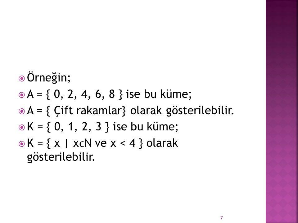  Örneğin;  A = { 0, 2, 4, 6, 8 } ise bu küme;  A = { Çift rakamlar} olarak gösterilebilir.  K = { 0, 1, 2, 3 } ise bu küme;  K = { x | xN ve x <
