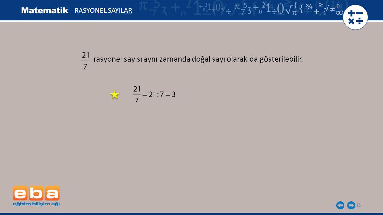 rasyonel sayısı aynı zamanda doğal sayı olarak da gösterilebilir. 15 RASYONEL SAYILAR