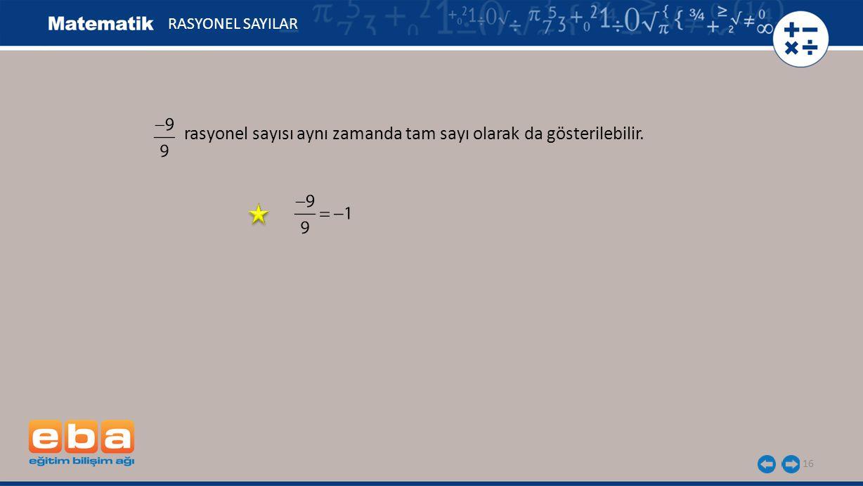 rasyonel sayısı aynı zamanda tam sayı olarak da gösterilebilir. 16 RASYONEL SAYILAR