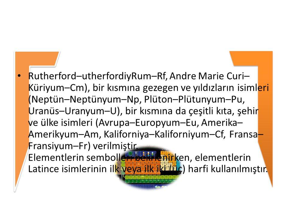 Rutherford–utherfordiyRum–Rf, Andre Marie Curi– Küriyum–Cm), bir kısmına gezegen ve yıldızların isimleri (Neptün–Neptünyum–Np, Plüton–Plütunyum–Pu, Ur