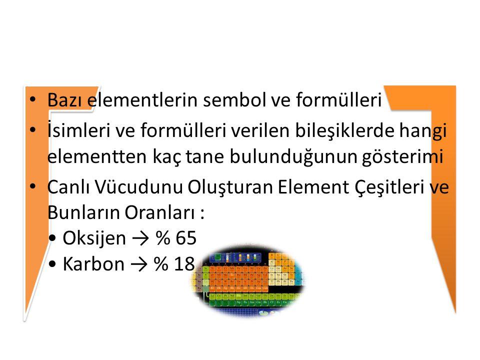 Bazı elementlerin sembol ve formülleri İsimleri ve formülleri verilen bileşiklerde hangi elementten kaç tane bulunduğunun gösterimi Canlı Vücudunu Olu