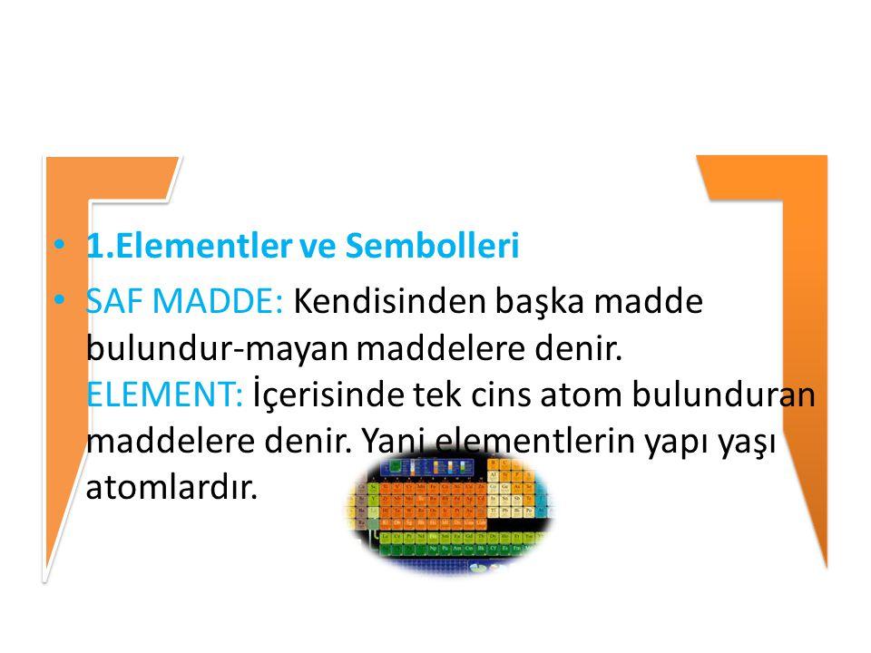 1.Elementler ve Sembolleri SAF MADDE: Kendisinden başka madde bulundur-mayan maddelere denir. ELEMENT: İçerisinde tek cins atom bulunduran maddelere d