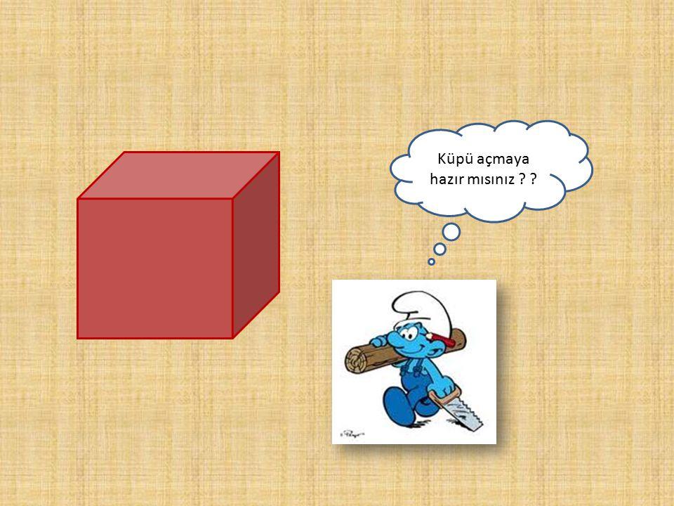 Küp Bütün ayrıtları birbirine eşit olan dik prizmaya küp denir. Tüm yüzeyleri kare dir.