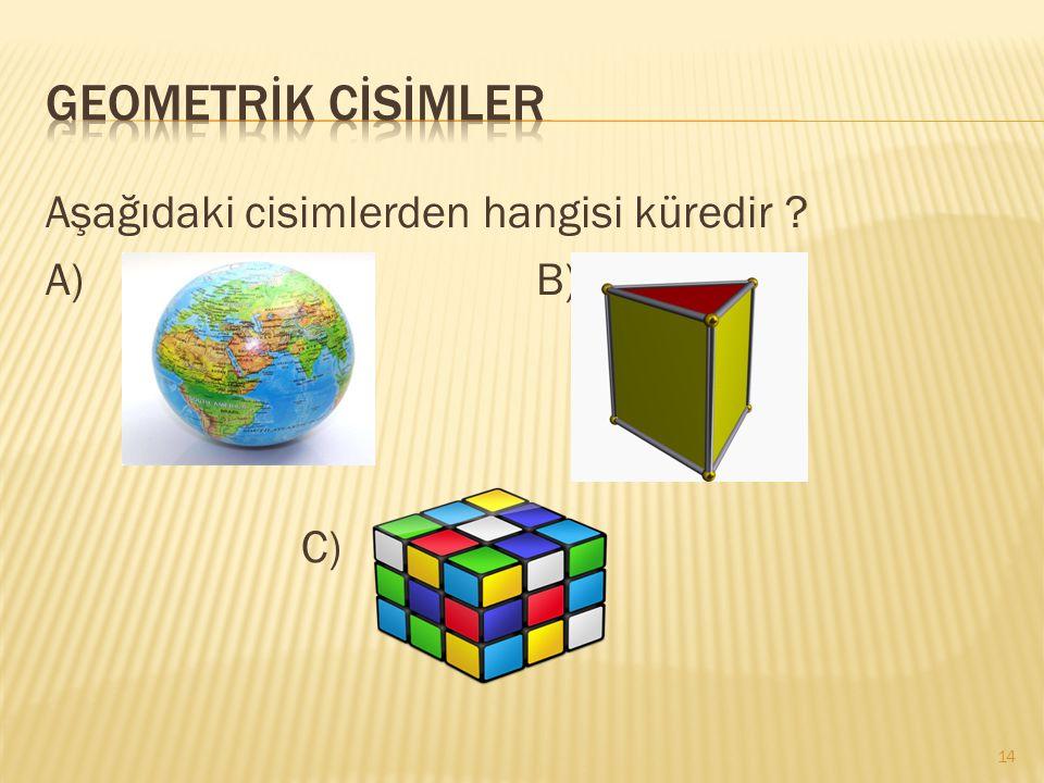 Aşağıdaki cisimlerden hangisi küredir ? A) B) C) 14