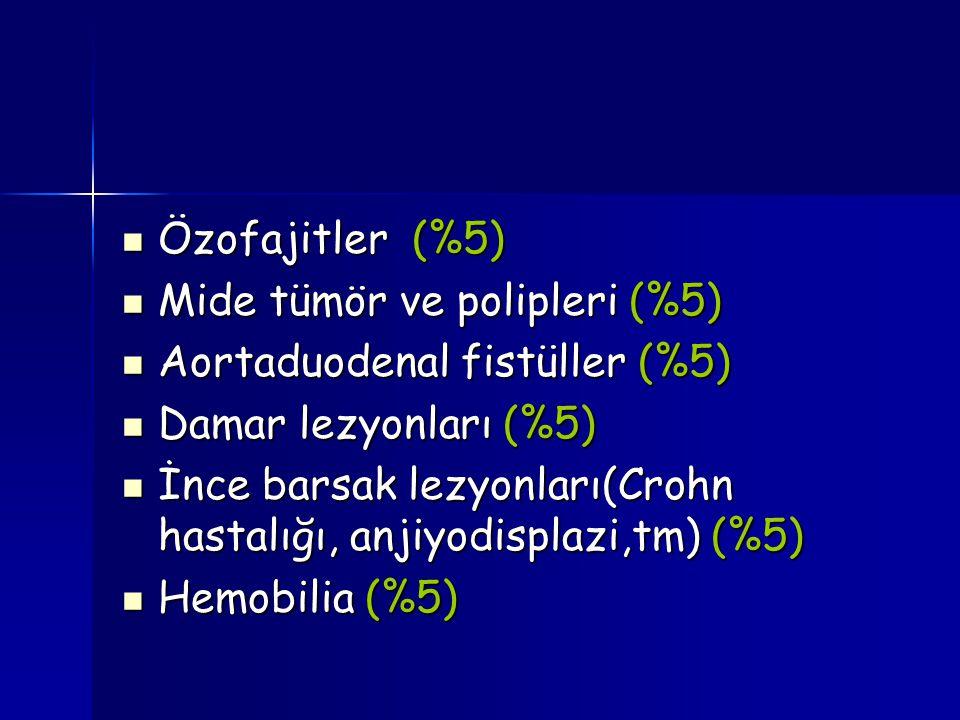 Özofajitler (%5) Özofajitler (%5) Mide tümör ve polipleri (%5) Mide tümör ve polipleri (%5) Aortaduodenal fistüller (%5) Aortaduodenal fistüller (%5)