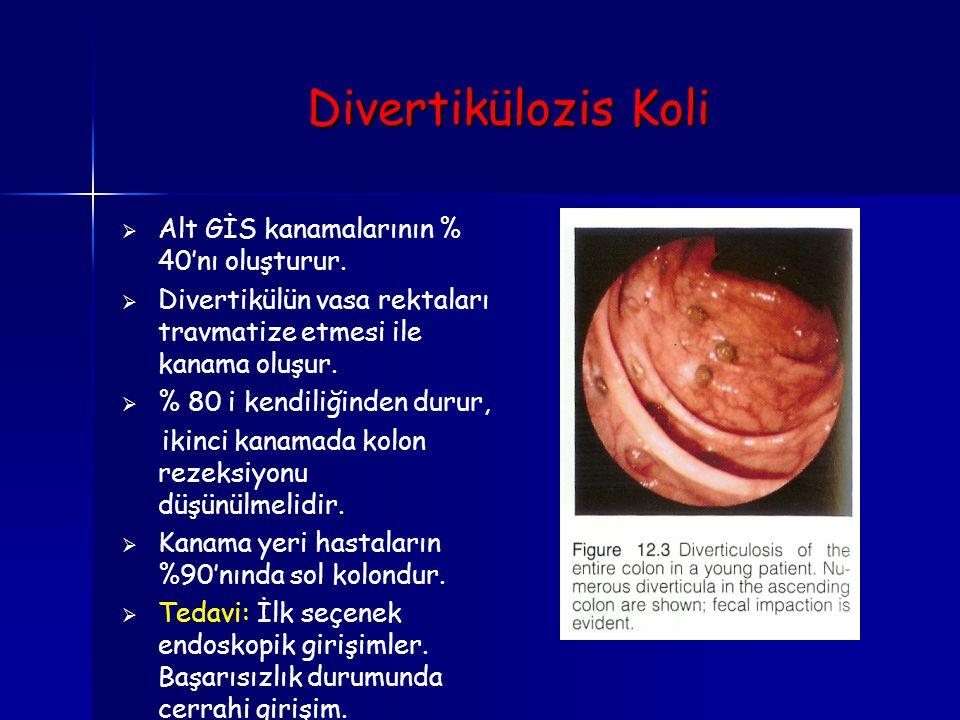 Divertikülozis Koli   Alt GİS kanamalarının % 40'nı oluşturur.   Divertikülün vasa rektaları travmatize etmesi ile kanama oluşur.   % 80 i kendi