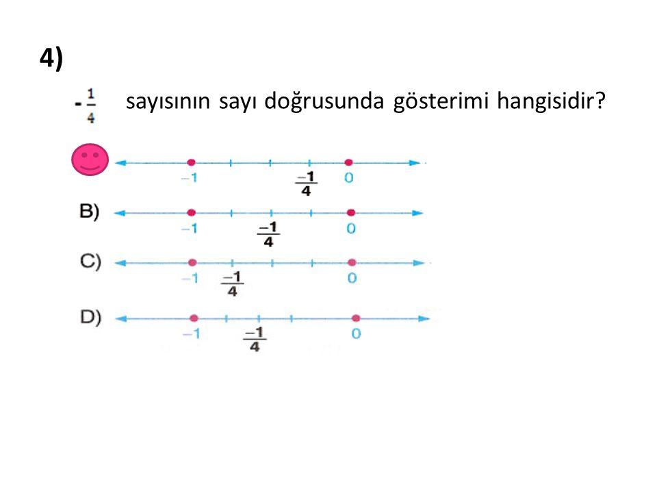 4) sayısının sayı doğrusunda gösterimi hangisidir?