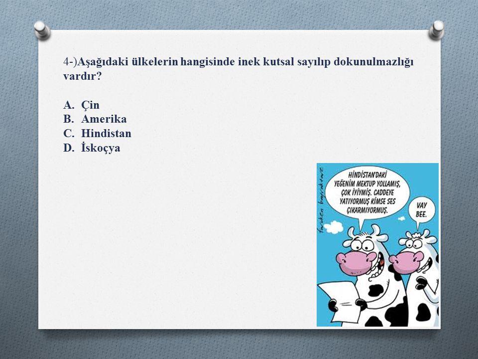 4-)Aşağıdaki ülkelerin hangisinde inek kutsal sayılıp dokunulmazlığı vardır.