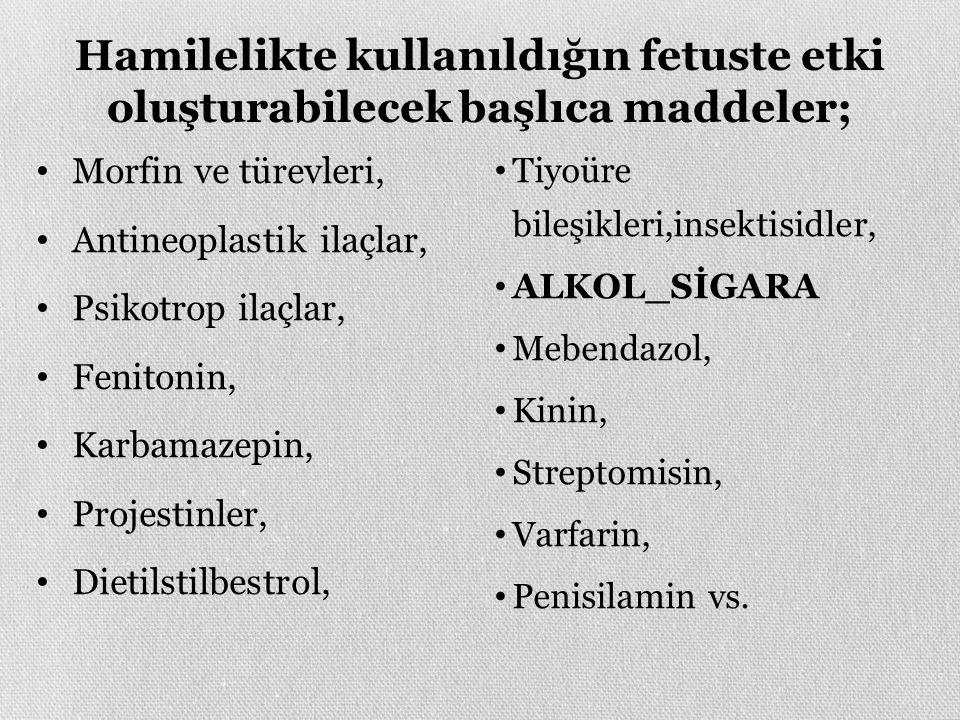Hamilelikte kullanıldığın fetuste etki oluşturabilecek başlıca maddeler; Morfin ve türevleri, Antineoplastik ilaçlar, Psikotrop ilaçlar, Fenitonin, Karbamazepin, Projestinler, Dietilstilbestrol, Tiyoüre bileşikleri,insektisidler, ALKOL_SİGARA Mebendazol, Kinin, Streptomisin, Varfarin, Penisilamin vs.