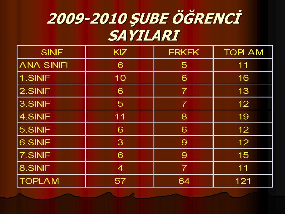 2009-2010 ŞUBE ÖĞRENCİ SAYILARI