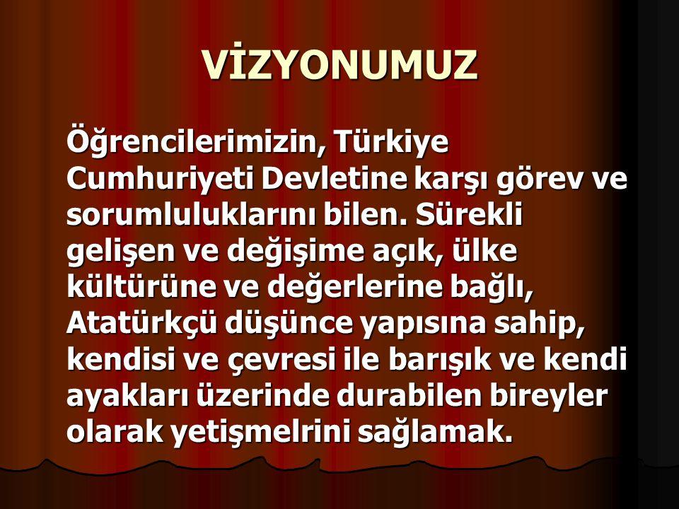 VİZYONUMUZ Öğrencilerimizin, Türkiye Cumhuriyeti Devletine karşı görev ve sorumluluklarını bilen. Sürekli gelişen ve değişime açık, ülke kültürüne ve