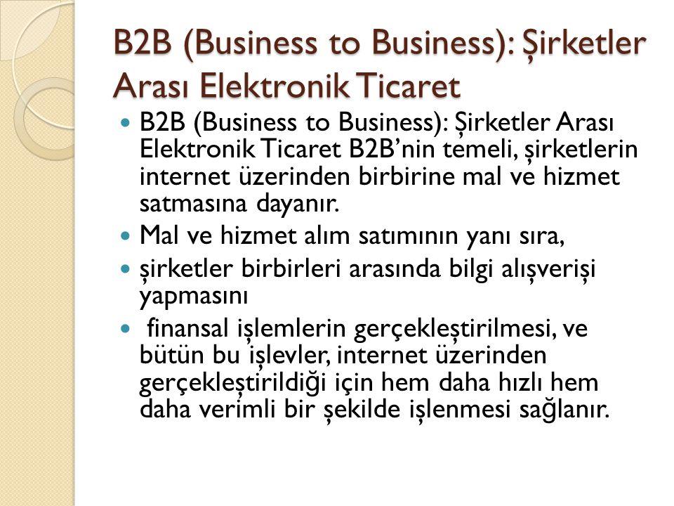 B2B (Business to Business): Şirketler Arası Elektronik Ticaret B2B (Business to Business): Şirketler Arası Elektronik Ticaret B2B'nin temeli, şirketle