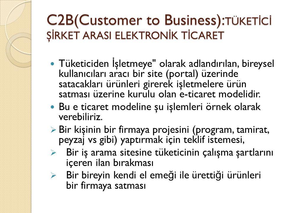 C2B(Customer to Business): TÜKET İ C İ Ş İ RKET ARASI ELEKTRON İ K T İ CARET Tüketiciden İ şletmeye