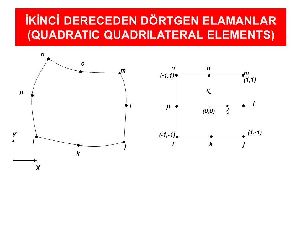 İKİNCİ DERECEDEN DÖRTGEN ELAMANLAR (QUADRATIC QUADRILATERAL ELEMENTS) (0,0) i j m n   Y X l o p k ikj l m on p (1,1) (1,-1) (-1,1) (-1,-1)