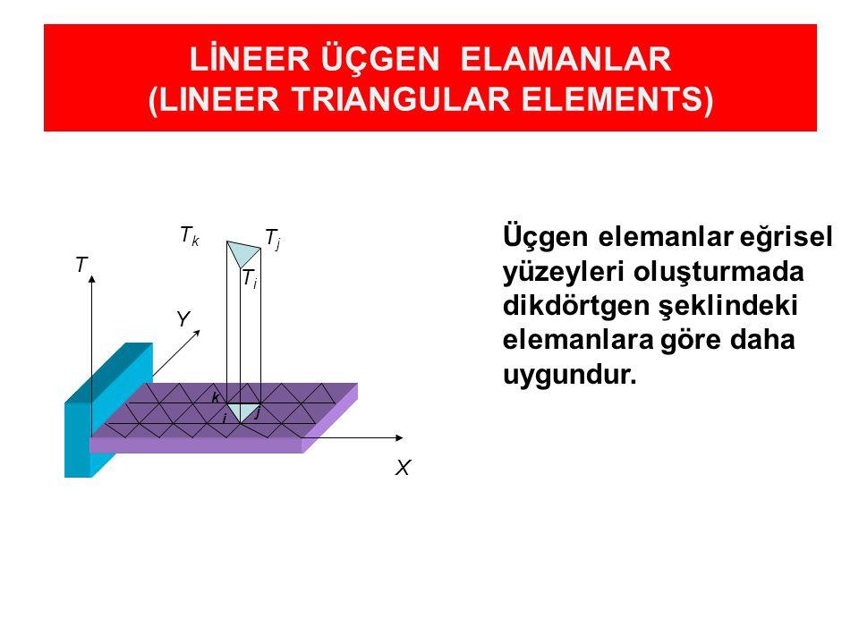 LİNEER ÜÇGEN ELAMANLAR (LINEER TRIANGULAR ELEMENTS) k i j T TkTk TiTi X Y TjTj Üçgen elemanlar eğrisel yüzeyleri oluşturmada dikdörtgen şeklindeki elemanlara göre daha uygundur.