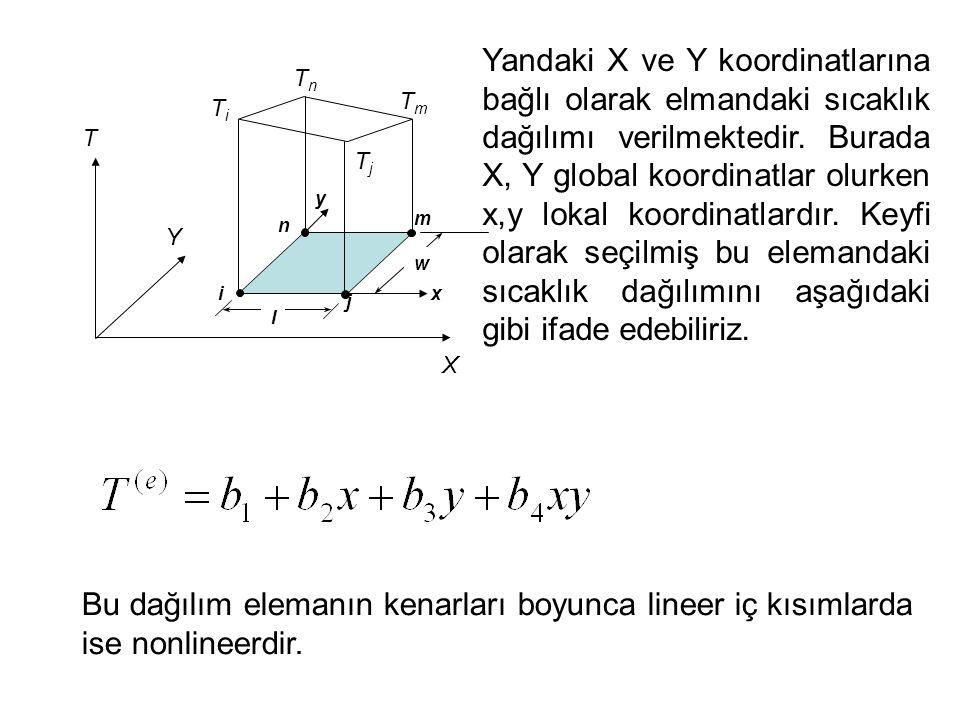 n m i j T TiTi TjTj X Y TnTn TmTm Yandaki X ve Y koordinatlarına bağlı olarak elmandaki sıcaklık dağılımı verilmektedir. Burada X, Y global koordinatl