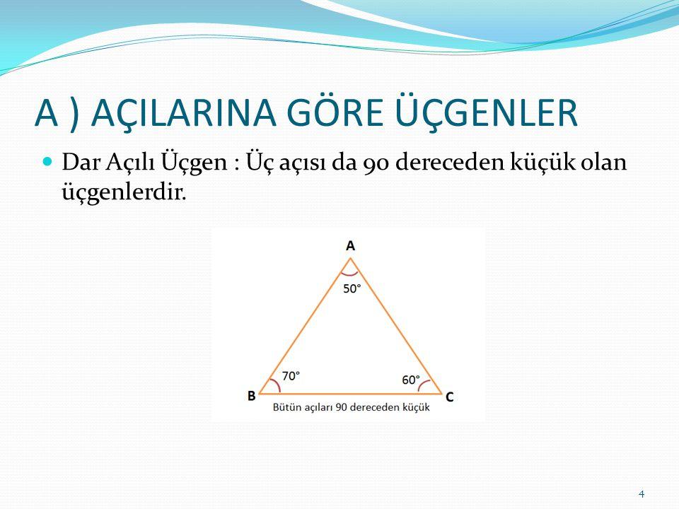A ) AÇILARINA GÖRE ÜÇGENLER Dar Açılı Üçgen : Üç açısı da 90 dereceden küçük olan üçgenlerdir. 4