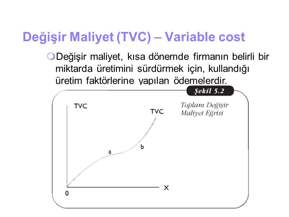Değişir Maliyet (TVC) – Variable cost  Değişir maliyet, kısa dönemde firmanın belirli bir miktarda üretimini sürdürmek için, kullandığı üretim faktör
