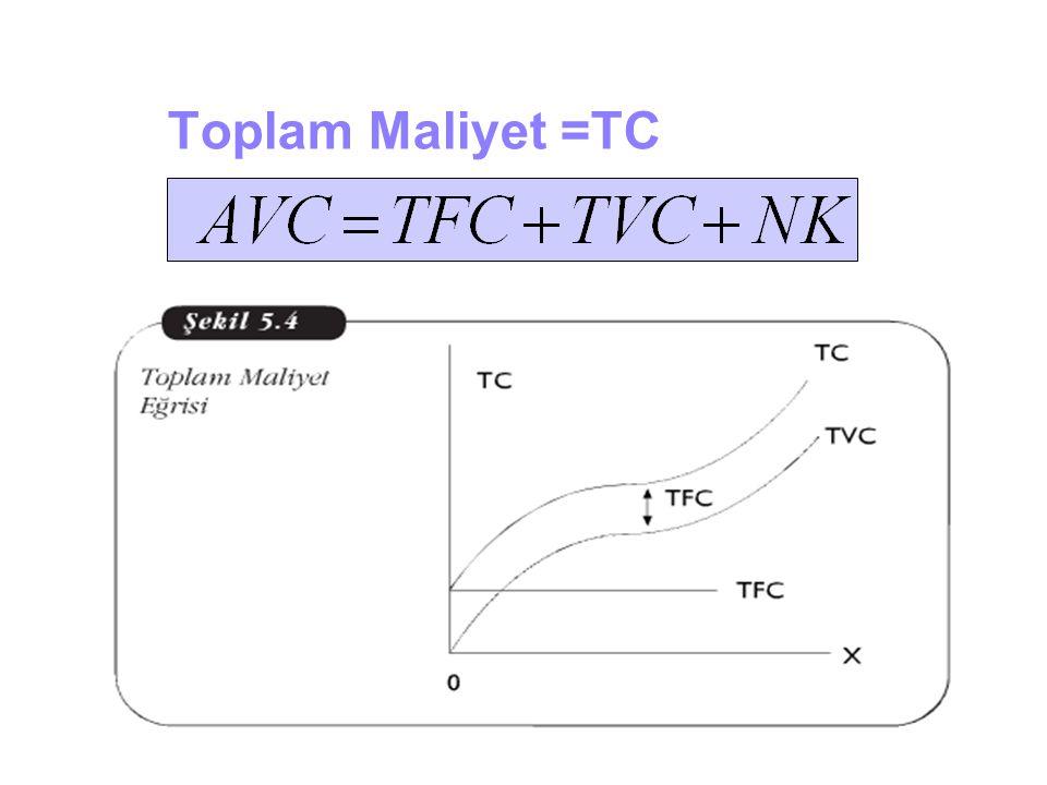 Toplam Maliyet =TC