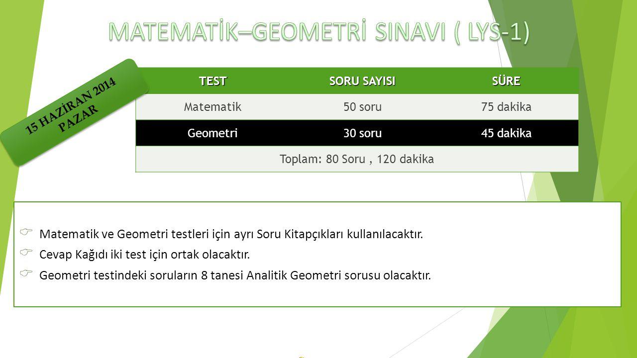  Matematik ve Geometri testleri için ayrı Soru Kitapçıkları kullanılacaktır.  Cevap Kağıdı iki test için ortak olacaktır.  Geometri testindeki soru