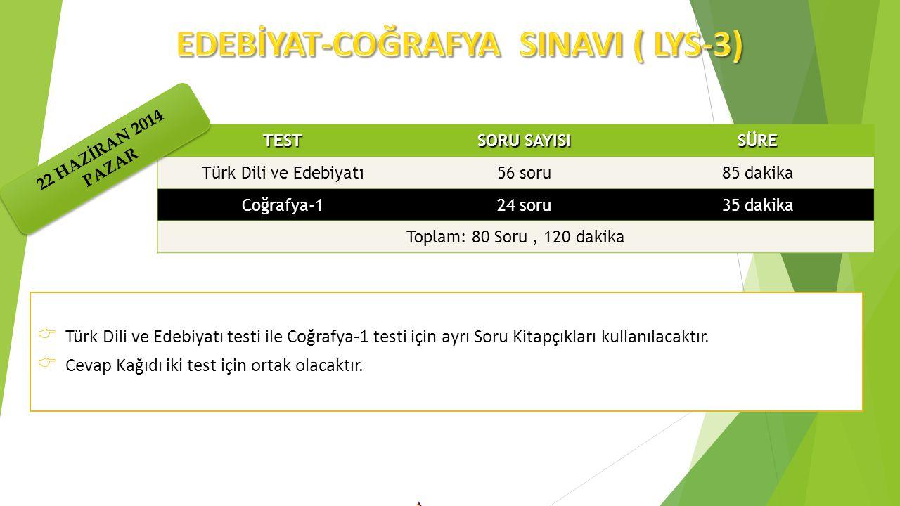  Türk Dili ve Edebiyatı testi ile Coğrafya-1 testi için ayrı Soru Kitapçıkları kullanılacaktır.  Cevap Kağıdı iki test için ortak olacaktır. TEST SO