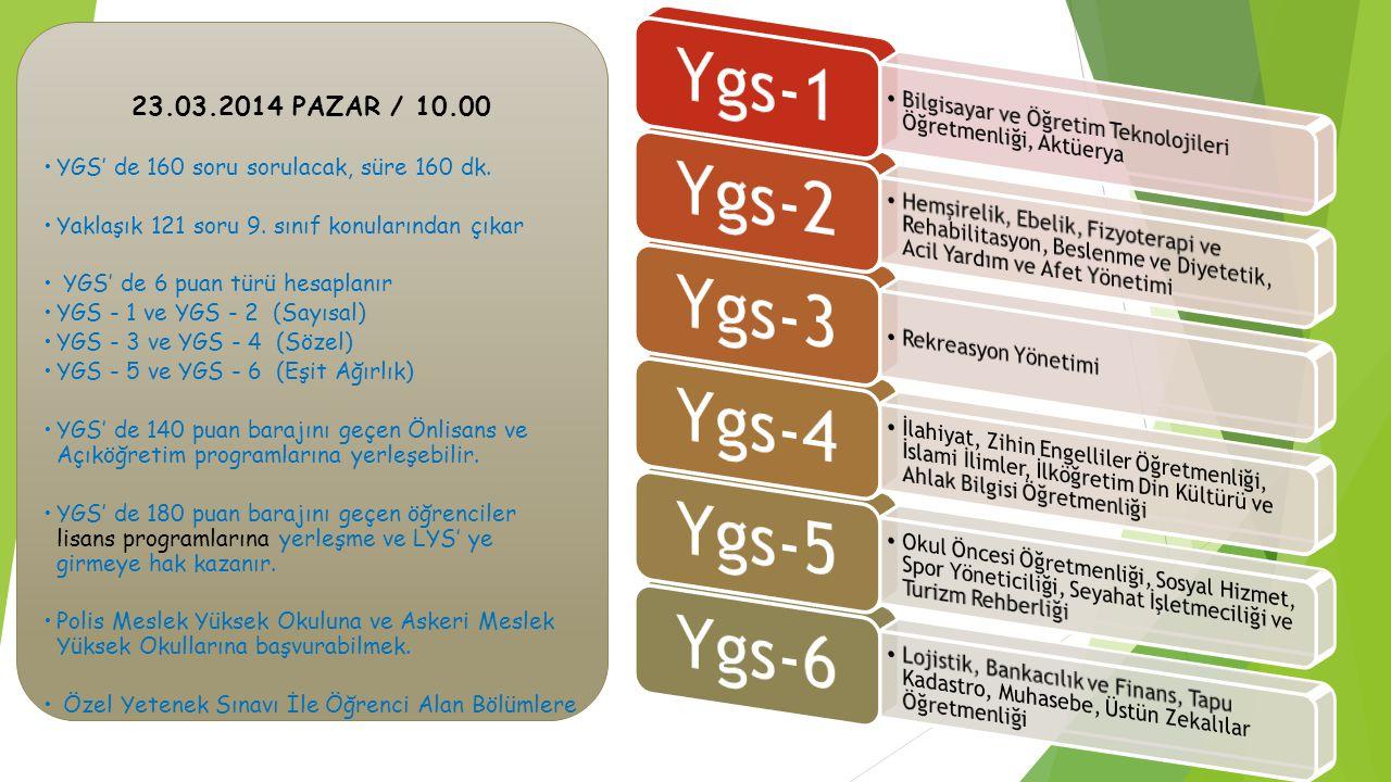 23.03.2014 PAZAR / 10.00 YGS' de 160 soru sorulacak, süre 160 dk. Yaklaşık 121 soru 9. sınıf konularından çıkar YGS' de 6 puan türü hesaplanır YGS - 1
