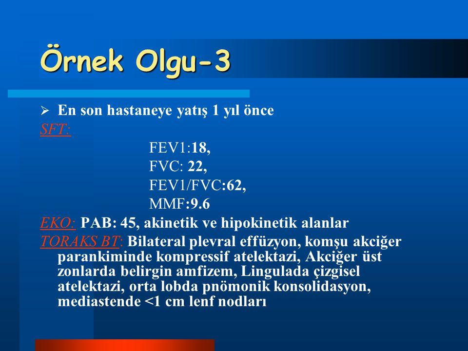 Örnek Olgu-3  En son hastaneye yatış 1 yıl önce SFT: FEV1:18, FVC: 22, FEV1/FVC:62, MMF:9.6 EKO: PAB: 45, akinetik ve hipokinetik alanlar TORAKS BT: