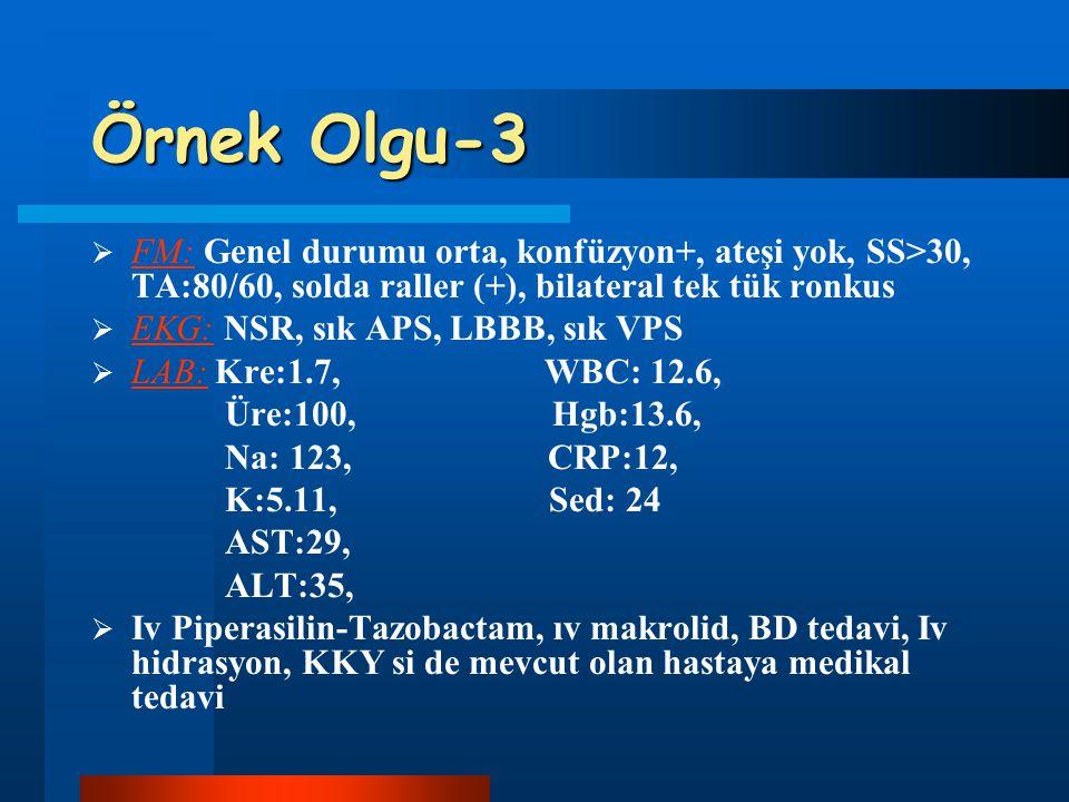 Örnek Olgu-3  FM: Genel durumu orta, konfüzyon+, ateşi yok, SS>30, TA:80/60, solda raller (+), bilateral tek tük ronkus  EKG: NSR, sık APS, LBBB, sı