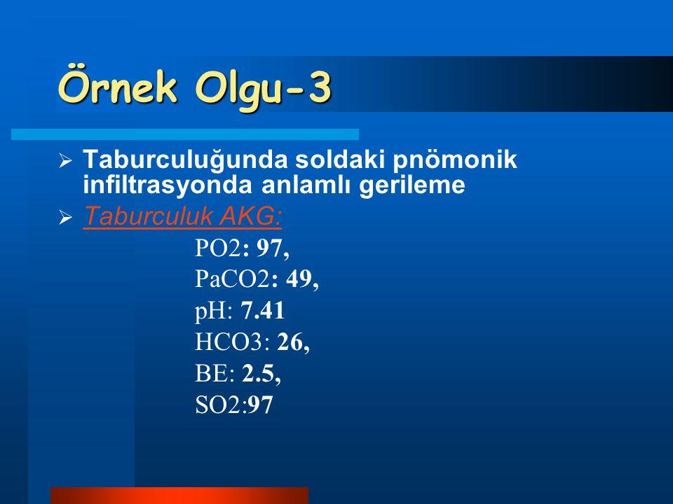 Örnek Olgu-3  Taburculuğunda soldaki pnömonik infiltrasyonda anlamlı gerileme  Taburculuk AKG: PO2: 97, PaCO2: 49, pH: 7.41 HCO3: 26, BE: 2.5, SO2:9