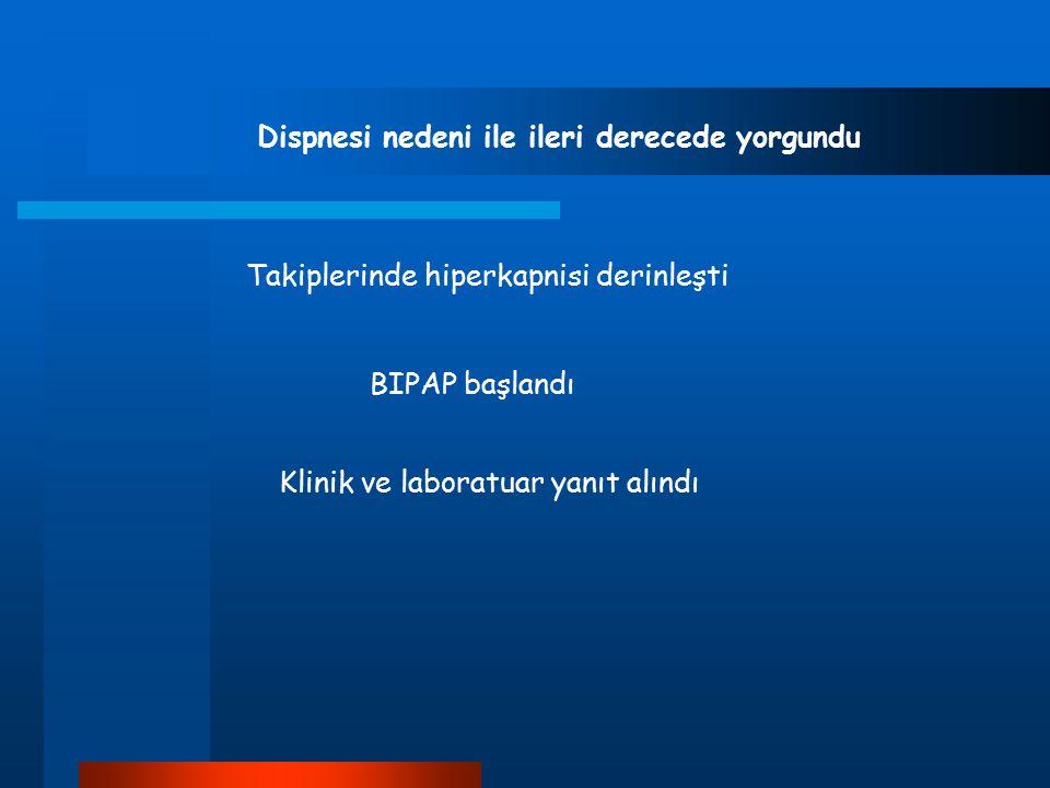 Dispnesi nedeni ile ileri derecede yorgundu Takiplerinde hiperkapnisi derinleşti BIPAP başlandı Klinik ve laboratuar yanıt alındı