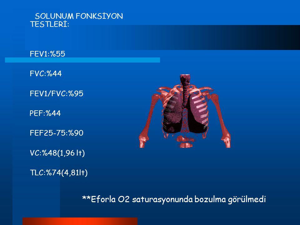 SOLUNUM FONKSİYON TESTLERİ: FEV1:%55 FVC:%44 FEV1/FVC:%95 PEF:%44 FEF25-75:%90 VC:%48(1,96 lt) TLC:%74(4,81lt) **Eforla O2 saturasyonunda bozulma görü