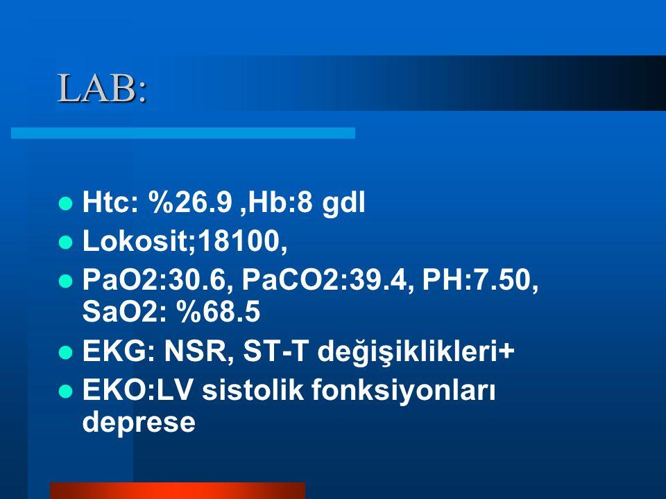 LAB: Htc: %26.9,Hb:8 gdl Lokosit;18100, PaO2:30.6, PaCO2:39.4, PH:7.50, SaO2: %68.5 EKG: NSR, ST-T değişiklikleri+ EKO:LV sistolik fonksiyonları depre
