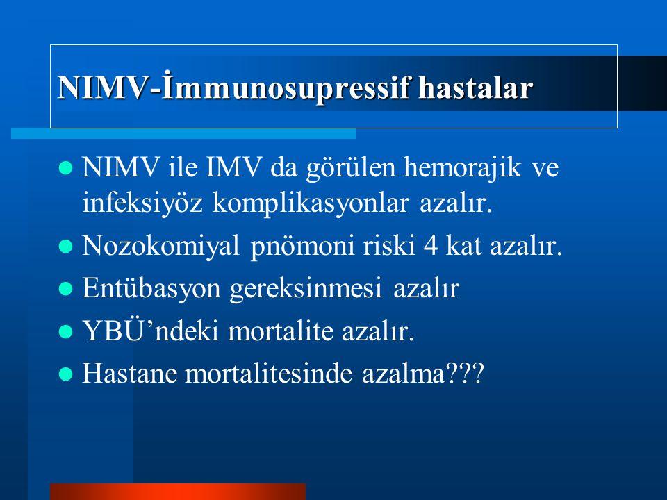 NIMV-İmmunosupressif hastalar NIMV ile IMV da görülen hemorajik ve infeksiyöz komplikasyonlar azalır. Nozokomiyal pnömoni riski 4 kat azalır. Entübasy