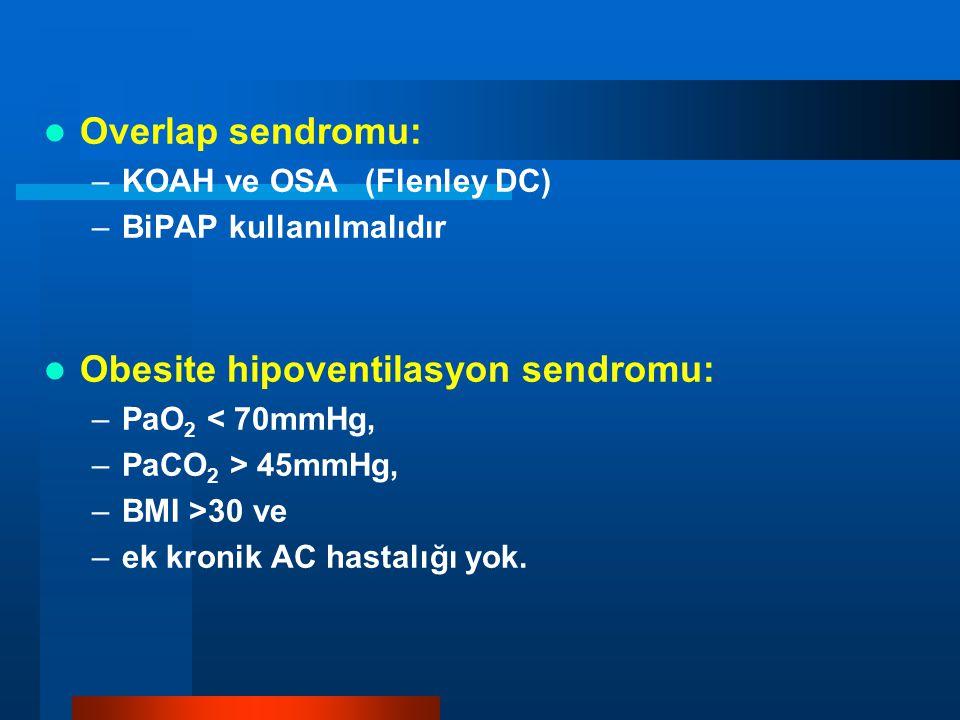 Overlap sendromu: –KOAH ve OSA (Flenley DC) –BiPAP kullanılmalıdır Obesite hipoventilasyon sendromu: –PaO 2 < 70mmHg, –PaCO 2 > 45mmHg, –BMI >30 ve –e
