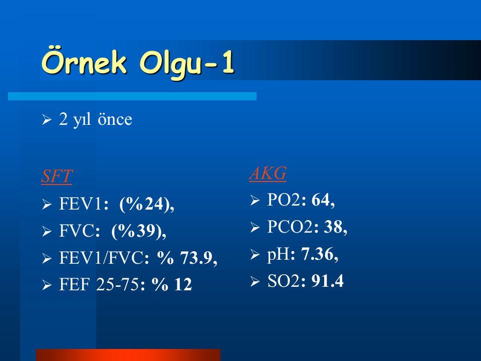 Örnek Olgu-1  2 yıl önce SFT  FEV1: (%24),  FVC: (%39),  FEV1/FVC: % 73.9,  FEF 25-75: % 12 AKG  PO2: 64,  PCO2: 38,  pH: 7.36,  SO2: 91.4