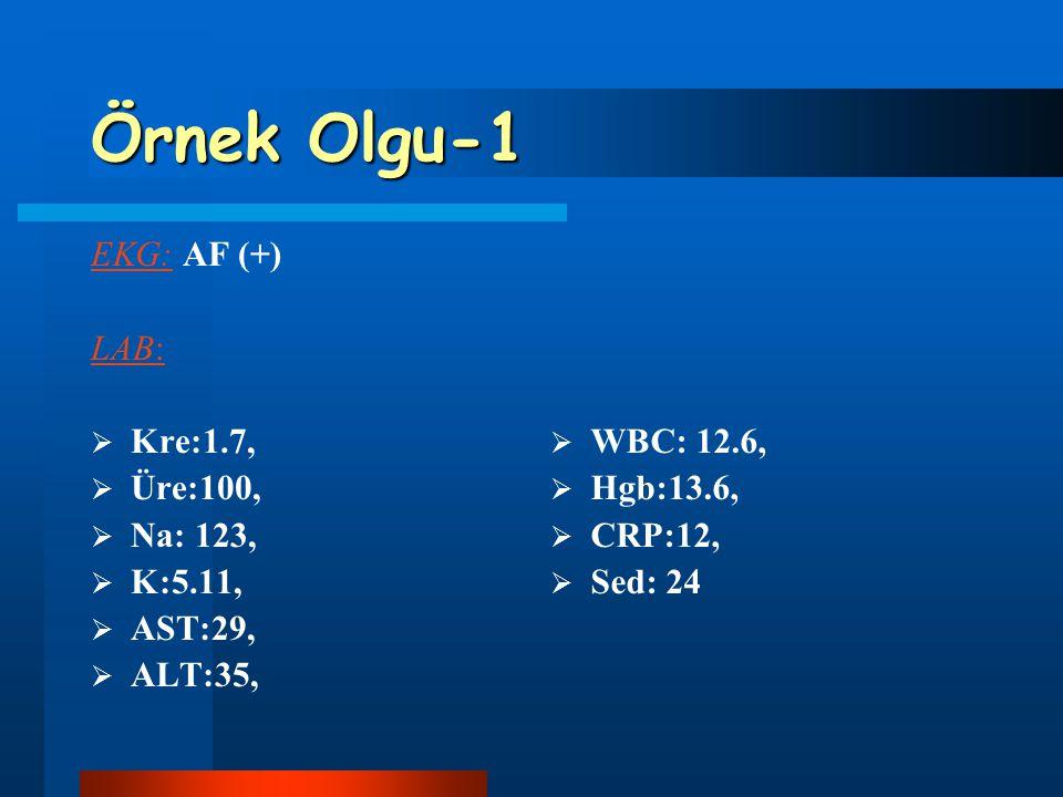 Örnek Olgu-1 EKG: AF (+) LAB:  Kre:1.7,  Üre:100,  Na: 123,  K:5.11,  AST:29,  ALT:35,  WBC: 12.6,  Hgb:13.6,  CRP:12,  Sed: 24