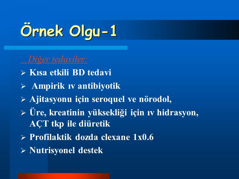 Örnek Olgu-1 Diğer tedaviler:  Kısa etkili BD tedavi  Ampirik ıv antibiyotik  Ajitasyonu için seroquel ve nörodol,  Üre, kreatinin yüksekliği için
