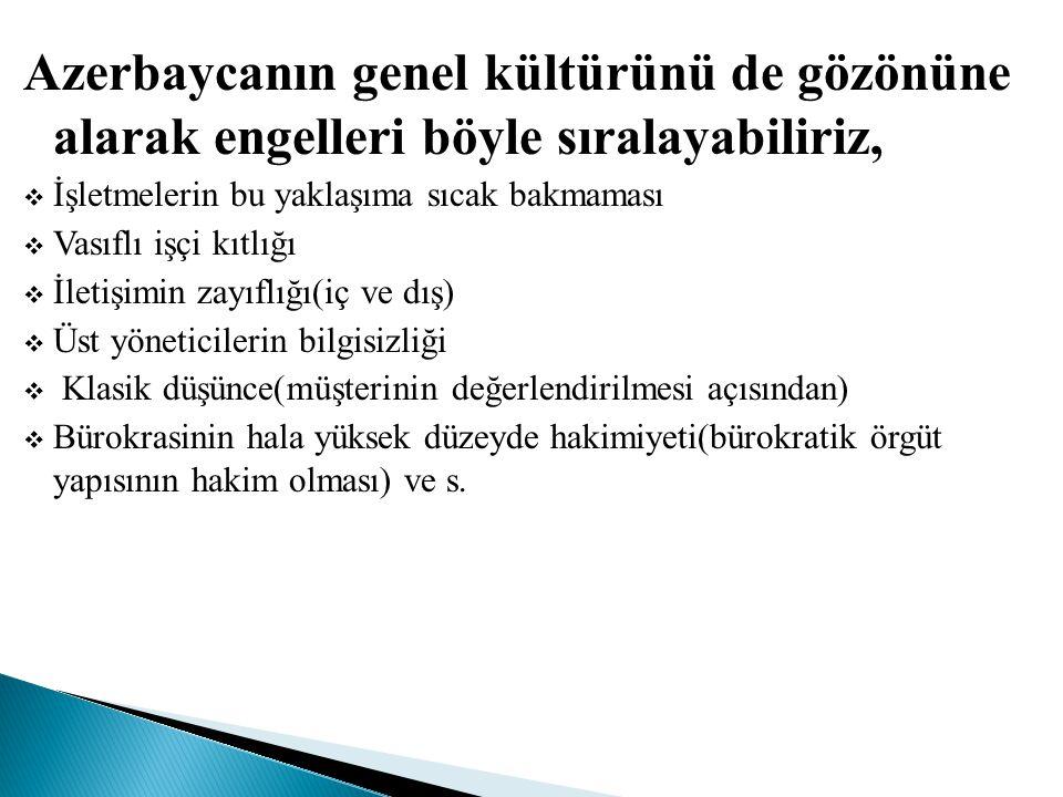 Azerbaycanın genel kültürünü de gözönüne alarak engelleri böyle sıralayabiliriz,  İşletmelerin bu yaklaşıma sıcak bakmaması  Vasıflı işçi kıtlığı 