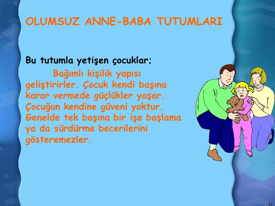 13 OLUMSUZ ANNE-BABA TUTUMLARI Bu tutumla yetişen çocuklar; Bağımlı kişilik yapısı geliştirirler.