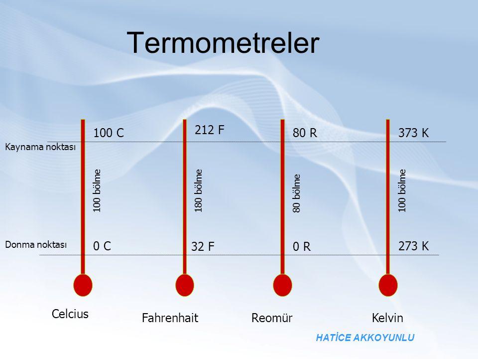Termometreler Kaynama noktası Donma noktası Celcius FahrenhaitReomürKelvin 100 C 212 F 80 R 373 K 0 C 32 F0 R 273 K 100 bölme 80 bölme180 bölme HATİCE