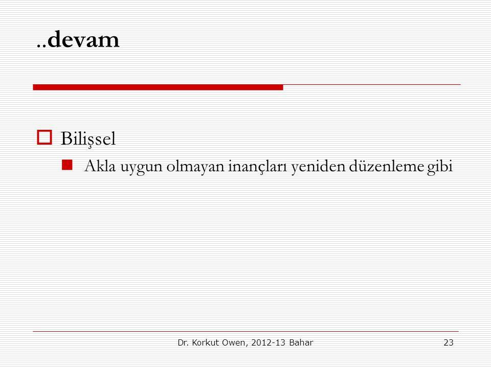 ..devam  Bilişsel Akla uygun olmayan inançları yeniden düzenleme gibi 23Dr. Korkut Owen, 2012-13 Bahar